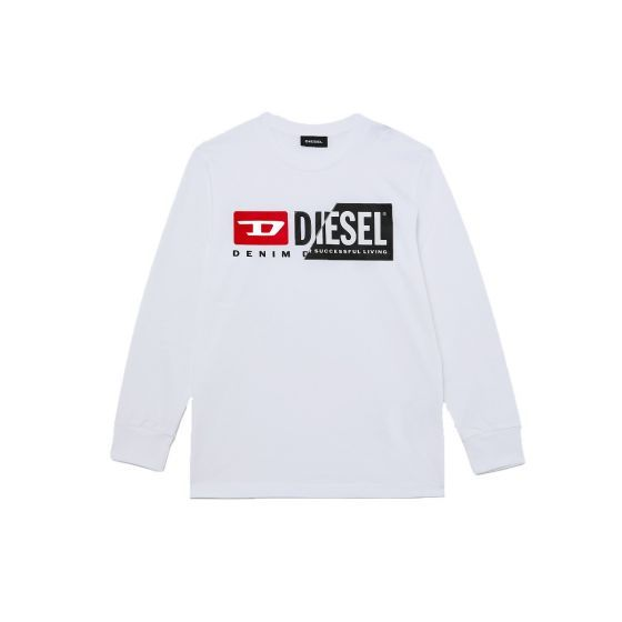 White Cotton Logo Long Sleeve T-Shirt For Baby