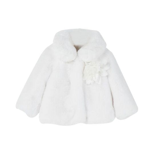 Faux Fur Jacket With Brooch