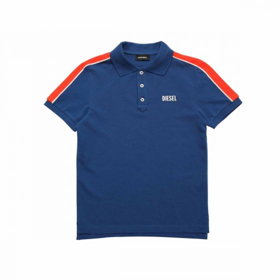 Blue Polo Shirt With Striped Bands