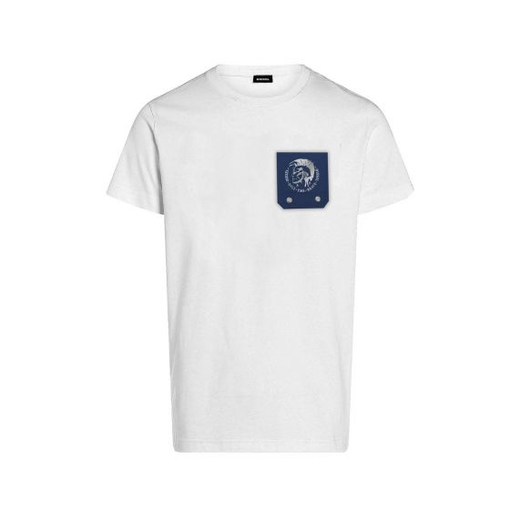 T-Shirt With Blue Chest Pocket