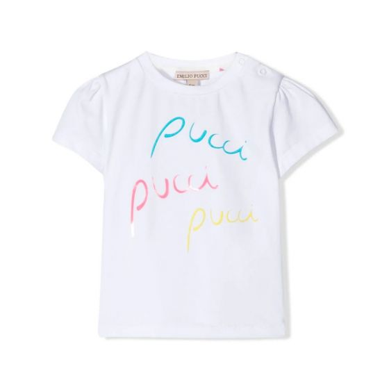 Emilio Pucci Print White T-shirt For Baby