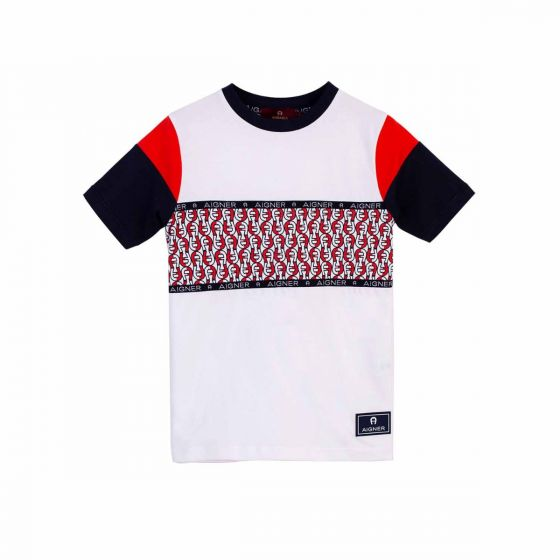 White & Red Cotton T-Shirt