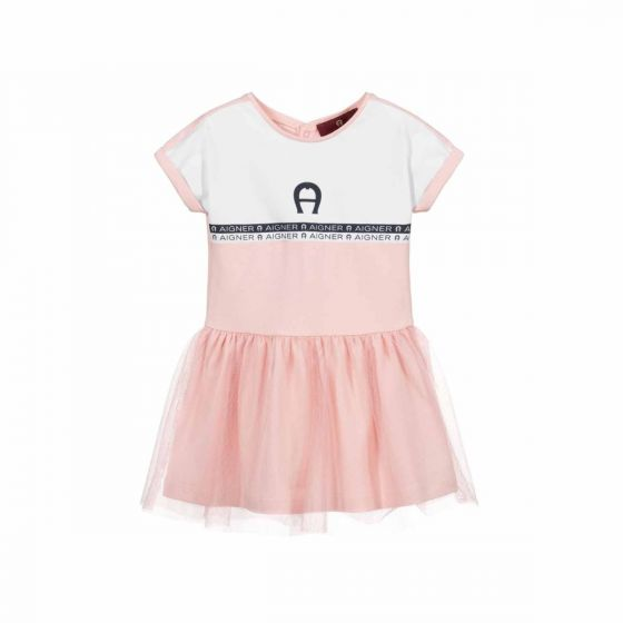 Pink Jersey & Tulle Baby Dress