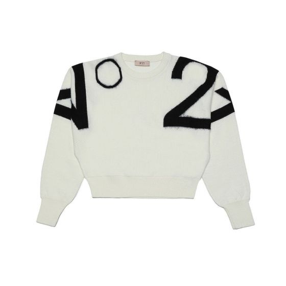 Intarsia Wool Blend Knit White Sweater For Girl