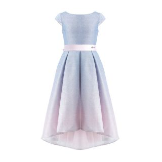 Glittering Gradient Pleated Dress With Train