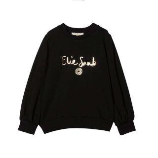Girls Golden Logo Black Sweatshirt