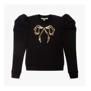Girls Sequins Bow Black Sweatshirt