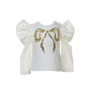Girls Sequins Bow White T-shirt