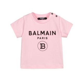 Pink Logo Print Short Sleeves T-shirt