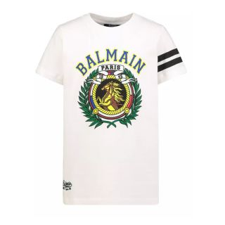 White Cotton T-shirt With MultiColor Horse Logo Print