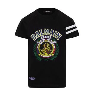 Black Cotton T-shirt With MultiColor Horse Logo Print