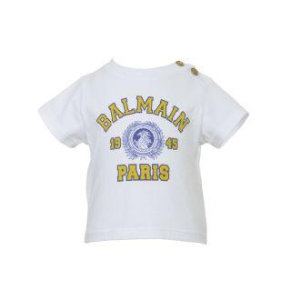 Logo Print Short Sleeve White T-shirt For Baby