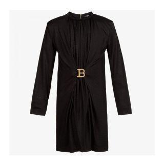 Black Logo Buckle Dress