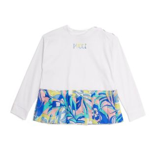 White Sweat shirt With Abstract Pleats