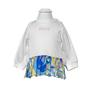 White Sweat shirt With Abstract Pleats For Baby Girl