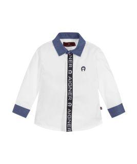 Boys White & Blue Shirt