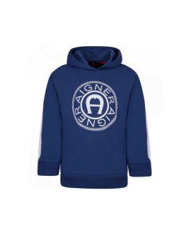 Logo Print Blue Hoodie