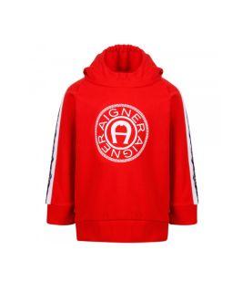 Logo Print Red Hoodie