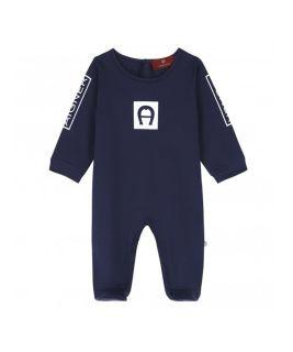 Blue Cotton Logo Babygrow