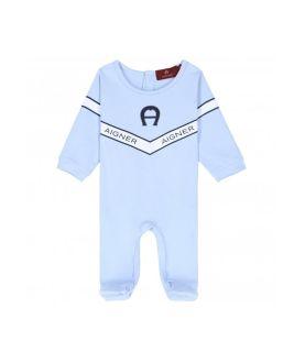 Blue Pima Cotton Logo Babygrow
