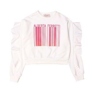 Off White Barcode Print Cotton Jumper