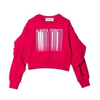 Pink Barcode Print Cotton Jumper