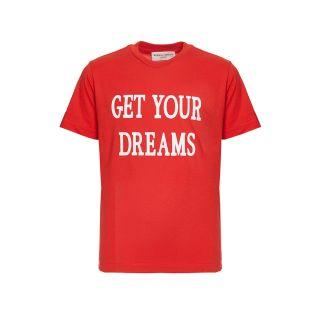 Red Slogan Print Cotton T-shirt