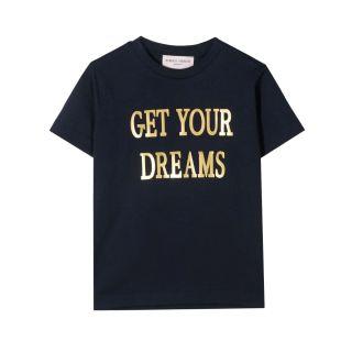Navy Blue Slogan Print Cotton T-shirt