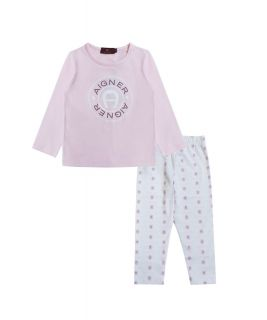 Pale Pink T Shirt With Printed Bottoms