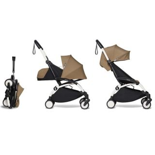 YOYO² Complete Stroller (Frame, Newborn pack, 6+ pack) - Toffee (White Frame)