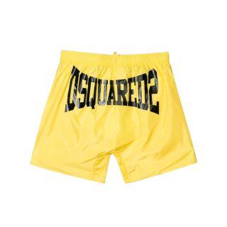 Yellow logo Print Swim Shorts