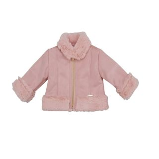 LIU JO Baby Girls Pink Faux Fur Trim Jacket