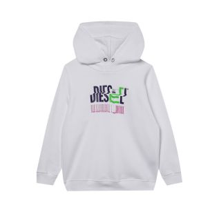 White Hoodie with Glitchy Logo Print - Unisex