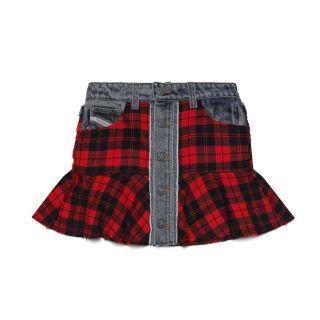 Checked Mini Skirt In Bouclé Wool
