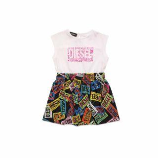 Sleeveless Dress With All Over Logo Print On Skirt