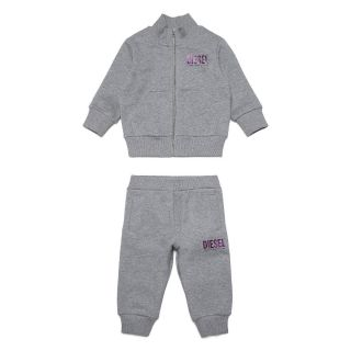 Grey Cotton Tracksuit For Baby Girl