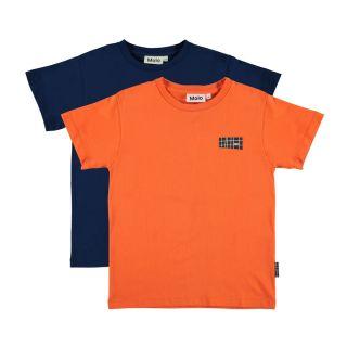 Rasmus Orange & Navy Half Sleeve T-shirt-Pack of 2