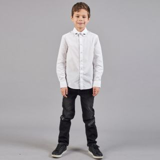 Classic White Shirt With Embroidery On Collar