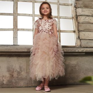 Luxurious Floral Embroidery From Shimmering Sequins Dress, Decorated With feathers And Volans