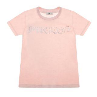 Rhinestone Logo Cotton Pink T-Shirt