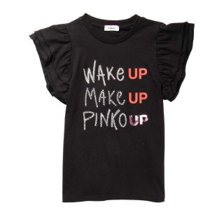 Girls Black Make Up Wake Up Print T-shirt