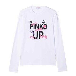 Girls Pinko Logo Print White T-shirt