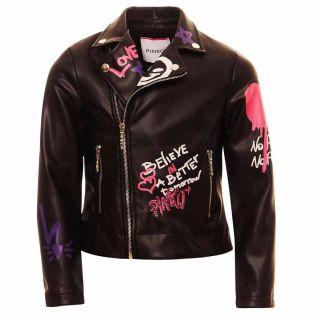Graffiti Print Faux Leather Jacket