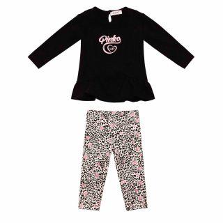 Baby Girls Black T-shirt With Printed Leggings Set