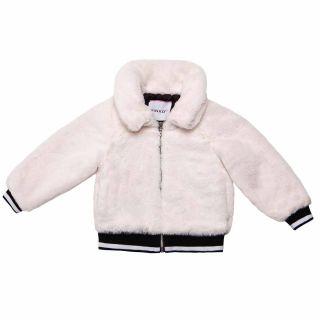 Girls Fur White Zip-up Jacket