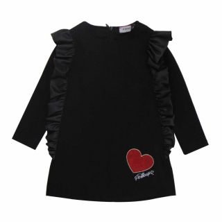 Girls Black Dress With Red Sequins Heart