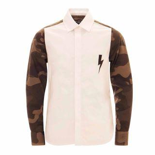 Boys Camouflage Printed Back & Sleeve Shirt