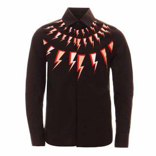 Boys Thunderbolt Print Long-Sleeved Shirt