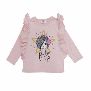 Girls Pink Ruffle Full Sleeve T-shirt