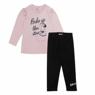 Girls Pink T-Shirt And Leggings Set